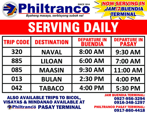 Philtranco trips Now Serving in JAM Buendia terminal!