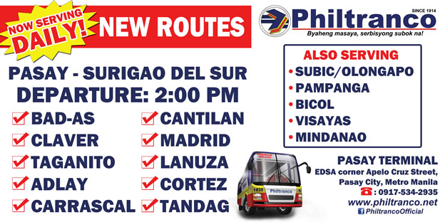 Now Serving Daily: Pasay - Surigao Del Sur Trips