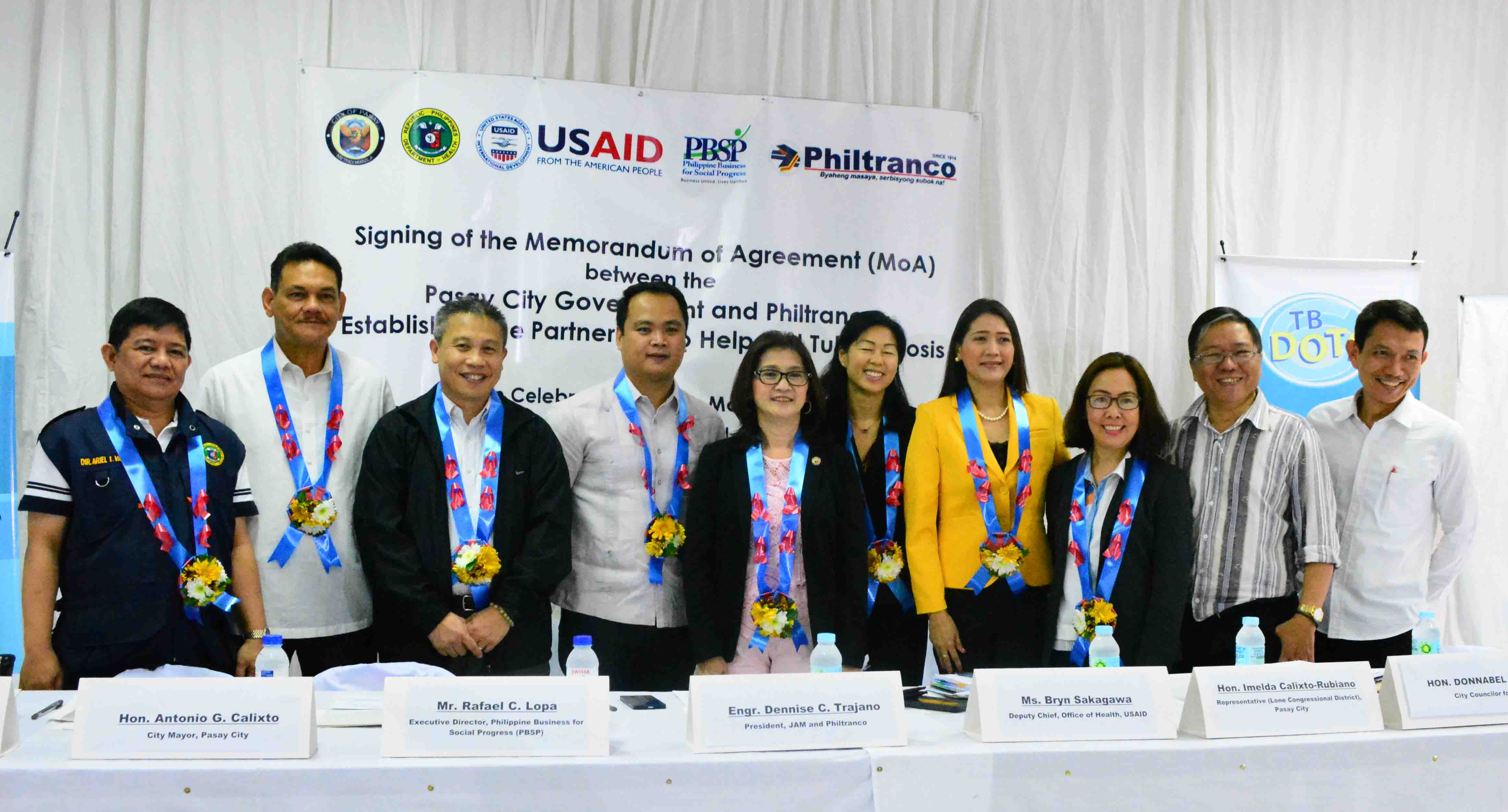 Memorandum of Agreement (MoA) between the Pasay City Government and Philtranco Establishing the Partnership to Help End Tuberculosis
