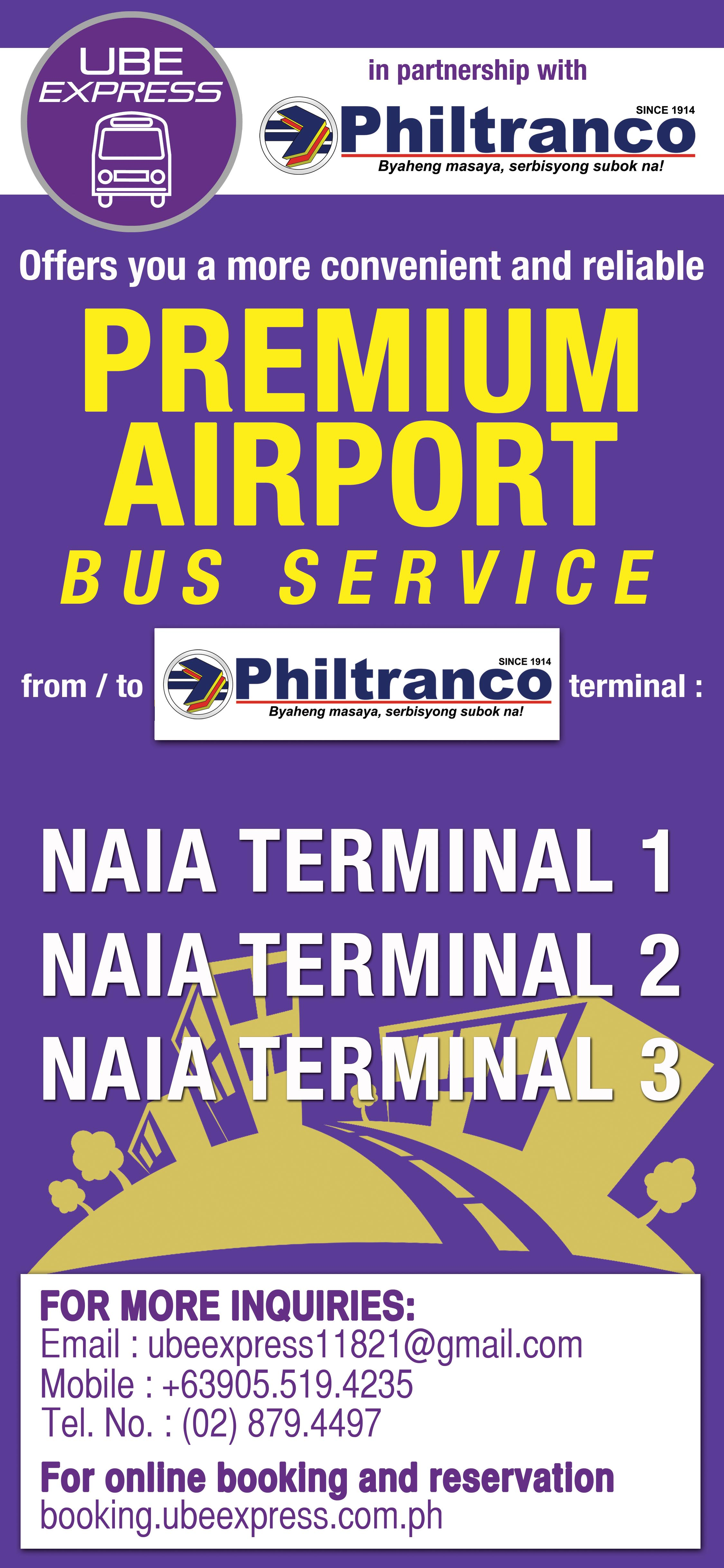In partnership with Ube Express and Philtranco offers Premium Airport Bus Service