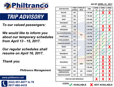 Philtranco Holy Week 2017 schedules